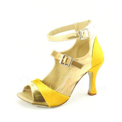 Kadın Satin Suni deri Topuk Sandalet Latin Ile Toka Dans Ayakkabıları (053057168)
