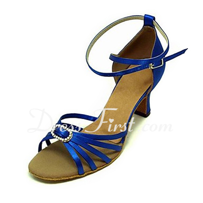 Women's Satin Heels Sandals Latin Ballroom With Rhinestone Dance Shoes (053013234)