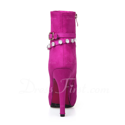 Suede Stiletto Heel Platform Ankle Boots With Rhinestone shoes (088057311)