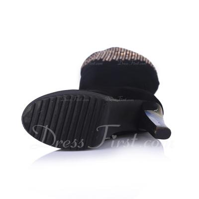 Süet Kalın Topuk Diz Yüksek Boots Ile Yapay elmas ayakkabı (088056357)