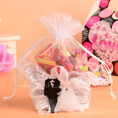 Bride & Groom Basket Favor Bags With Ribbons (Set of 12) (050054575)