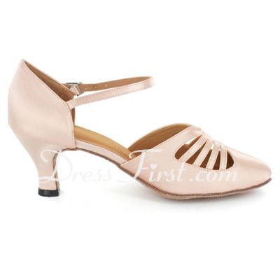 Women's Satin Heels Pumps Ballroom With Ankle Strap Dance Shoes (053021553)