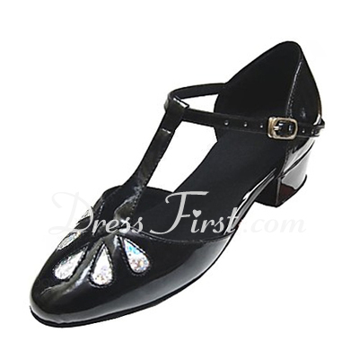 Kids' Leatherette Patent Leather Flats Ballroom With T-Strap Dance Shoes (053013394)