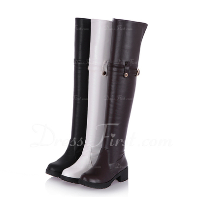 Suni deri Kalın Topuk Platform Diz Yüksek Boots Boots Binme Ile Toka ayakkabı (088057476)