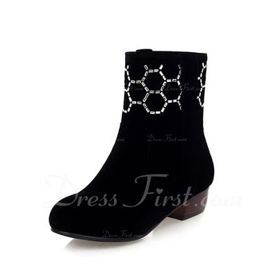 Süet Alçak Topuk Ayak bileği Boots Ile Yapay elmas ayakkabı (088056559)