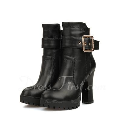 Gerçek Deri Kalın Topuk Ayak bileği Boots Ile Toka ayakkabı (088057281)