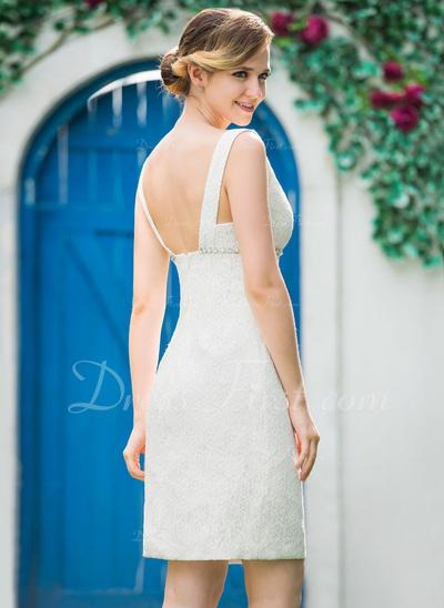 Etui-Linie V-Ausschnitt Knielang Spitze Brautkleid mit Perlen verziert (002051151)