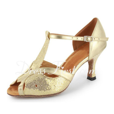 Women's Sparkling Glitter Patent Leather Heels Sandals Latin Ballroom With T-Strap Dance Shoes (053021493)