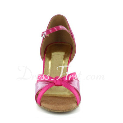 Women's Satin Heels Sandals Latin With Bowknot Buckle Dance Shoes (053020412)