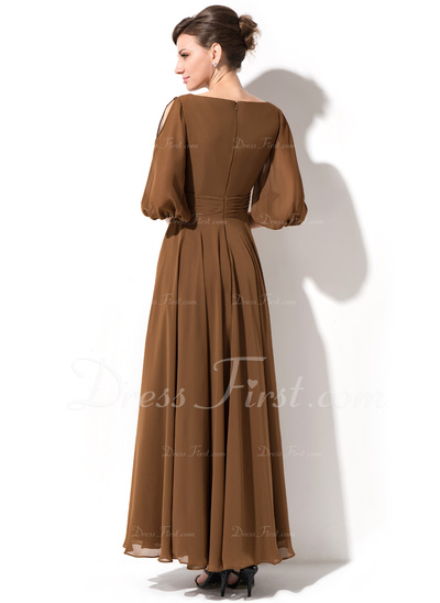 A-Line/Princess Scoop Neck Ankle-Length Chiffon Mother of the Bride Dress (008042823)