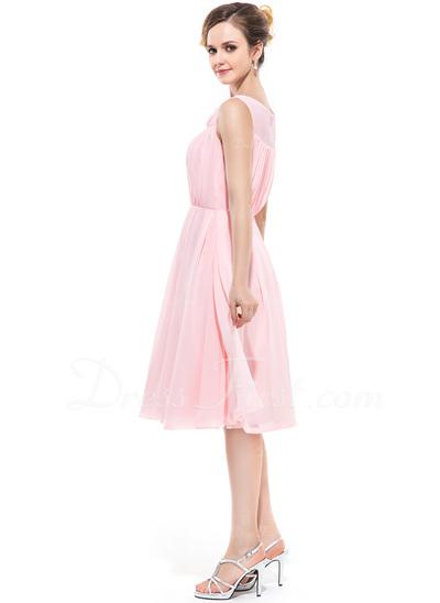 A-Line/Princess Cowl Neck Knee-Length Chiffon Bridesmaid Dress With Ruffle (007050349)