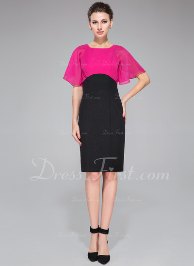 Empire Scoop Neck Knee-Length Chiffon Cocktail Dress (016050343)