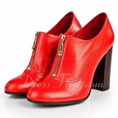 Real Leather Chunky Heel Ankle Boots shoes (085055825)