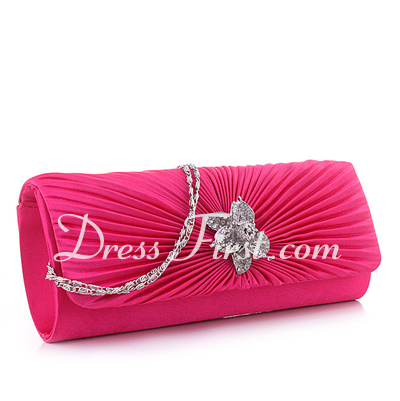 Elegant Silk With Ruffles/Rhinestone Clutches (012027076)