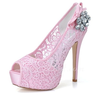 Women's Lace Stiletto Heel Peep Toe Platform Pumps Sandals With Rhinestone (047057070)