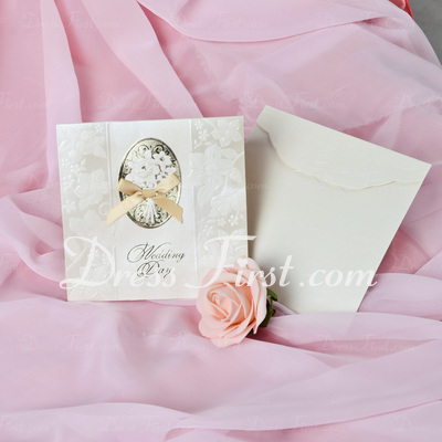 Floral Style Tri-Fold Invitation Cards With Bows (Set of 50) (114033298)