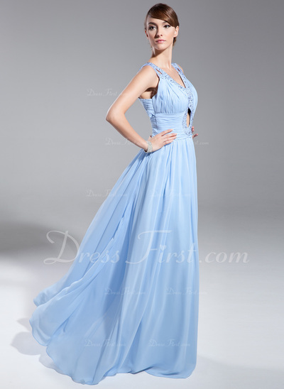 A-Line/Princess V-neck Floor-Length Chiffon Evening Dress With Ruffle Beading Sequins (017014691)