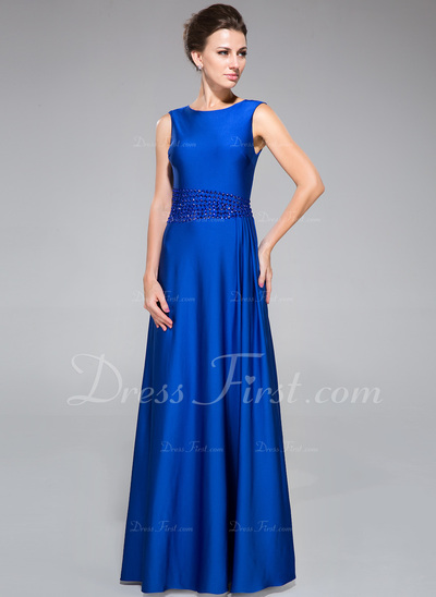 Sheath/Column Scoop Neck Floor-Length Jersey Mother of the Bride Dress With Beading (008042315)