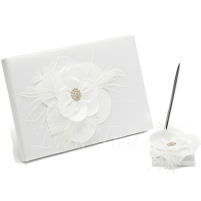 Flowers Design Rhinestones/Feather/Flower Guestbook & Pen Set (101037358)