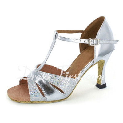Women's Patent Leather Heels Sandals Latin With T-Strap Dance Shoes (053021925)