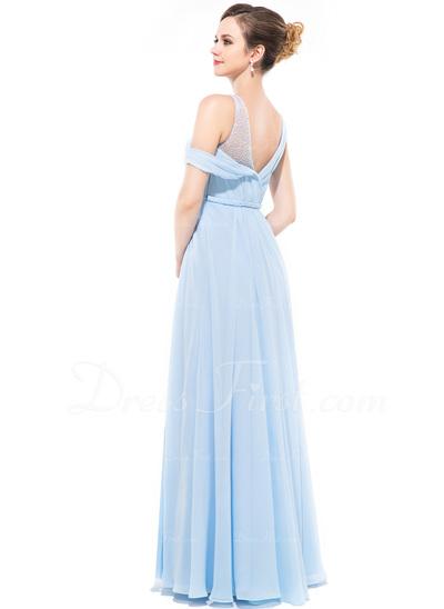 A-Line/Princess Scoop Neck Floor-Length Chiffon Evening Dress With Ruffle Beading Sequins (017050131)