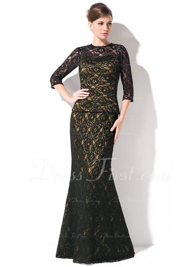 Trumpet/Mermaid Scoop Neck Floor-Length Lace Mother of the Bride Dress (008042314)
