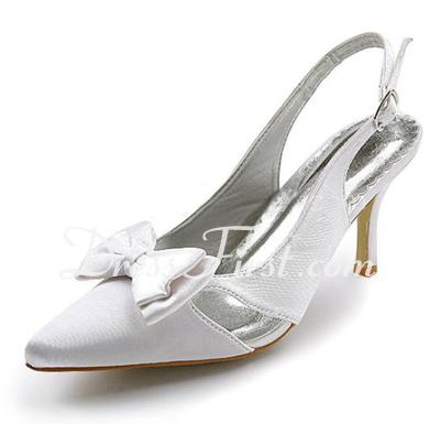 Satin Plastic Heel szpuli Closed Toe Pantofle Pompy Buty ślubne Z Bowknot Klamra (047010768)