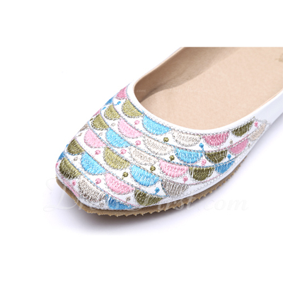 Suni deri Düz Topuk Daireler Kapalı Toe ayakkabı (086056679)