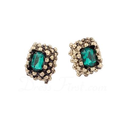 Vintage Alloy With Rhinestone Ladies' Earrings (011038785)