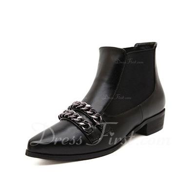Suni deri Düz Topuk Ayak bileği Boots Ile Zincir ayakkabı (088056644)