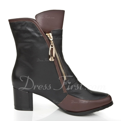 Real Leather Chunky Heel Pumps Closed Toe Ankle Boots With Zipper shoes (088055729)