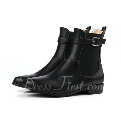 Leatherette Low Heel Closed Toe Ankle Boots With Buckle shoes (088054796)