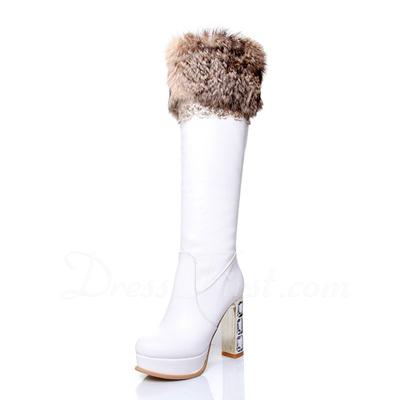 Suni deri Kalın Topuk Diz Yüksek Boots Ile Kürk ayakkabı (088057264)