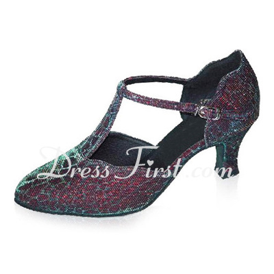 Women's Leatherette Heels Pumps Modern Ballroom With T-Strap Dance Shoes (053021408)