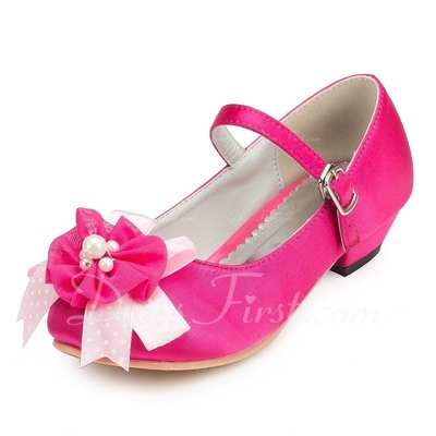 Kids' Satin Low Heel Closed Toe Pumps With Flower (047056280)