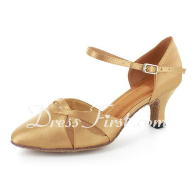 Women's Satin Heels Pumps Modern With Ankle Strap Dance Shoes (053021550)