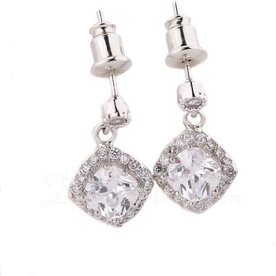 Beautiful Zircon/Platinum Plated Ladies' Earrings (011057236)