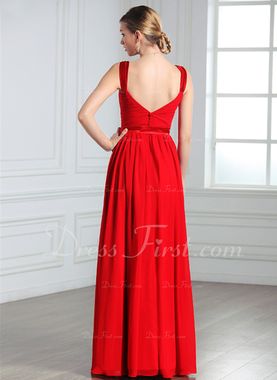A-Line/Princess V-neck Floor-Length Chiffon Evening Dress With Ruffle Bow(s) (017022550)