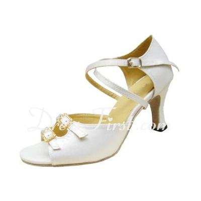 Women's Satin Heels Sandals Latin With Ankle Strap Dance Shoes (053012986)