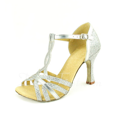 Women's Leatherette Heels Sandals Latin With T-Strap Dance Shoes (053057180)
