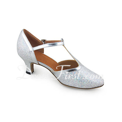 Women's Leatherette Sparkling Glitter Heels Pumps Modern Ballroom Wedding With T-Strap Dance Shoes (053018533)
