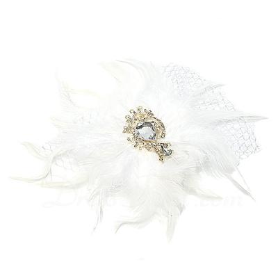 Göz alıcı Kristal/Net İplik/Kuş tüyü Fascinators (042057567)