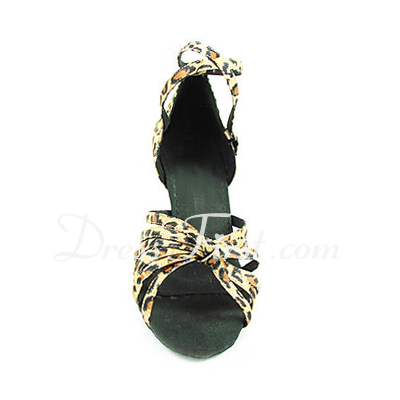 Women's Satin Heels Sandals Latin With Ankle Strap Dance Shoes (053013527)