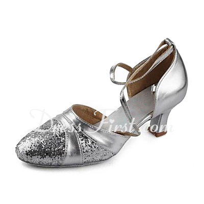 Women's Leatherette Sparkling Glitter Heels Pumps Modern With Ankle Strap Dance Shoes (053013200)