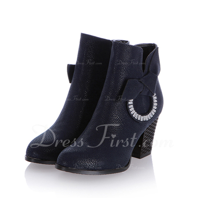 Cuero Tacón ancho Botas al tobillo con Rhinestone zapatos (088054387)