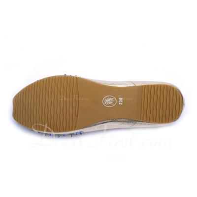Suni deri Düz Topuk Daireler Kapalı Toe Ile Boncuklama ayakkabı (086056678)
