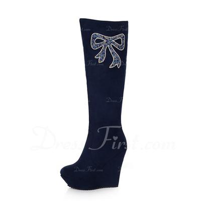 Süet Dolgu Topuk Diz Yüksek Boots Ile Yapay elmas ayakkabı (088057319)