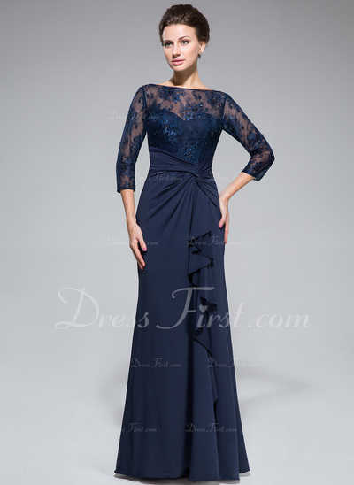 Empire Scoop Neck Floor-Length Lace Jersey Mother of the Bride Dress With Beading Sequins Split Front Cascading Ruffles (008050415)