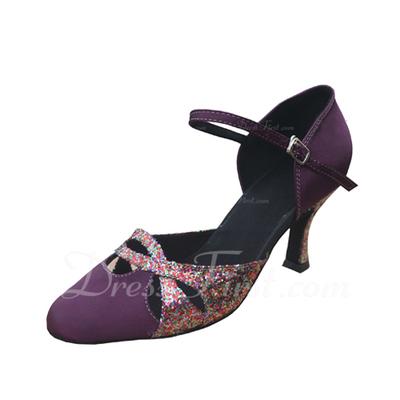 Women's Satin Sparkling Glitter Heels Pumps Modern Dance Shoes (053021338)