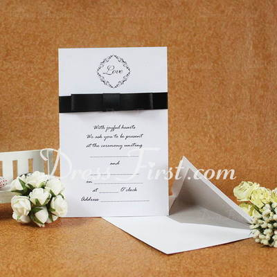 Classic Style Flat Card Invitation Cards With Ribbons (Set of 50) (114030742)